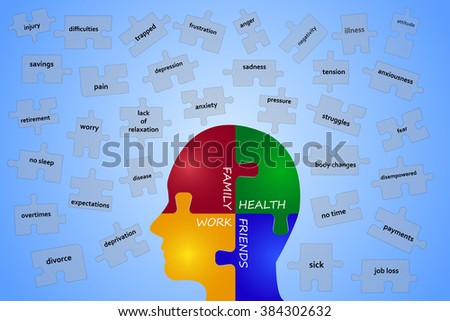 Puzzle head describing a parts of a work-life balance. Puzzle pieces with inscriptions indicating the stressors are falling on this head. Everything is on a blue background.  - stock vector
