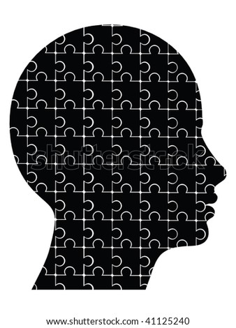 puzzle head vector - stock vector