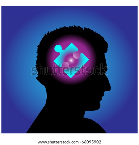 Puzzle head.Vector - stock vector
