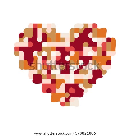 Puzzle heart. Pixel art vector illustration.
