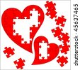 Puzzle heart. Valentine's Day abstract background. - stock photo