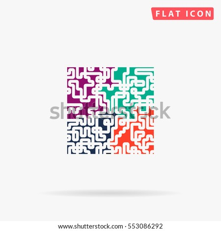 Puzzle Icon Vector. Flat color symbol on white background with shadow