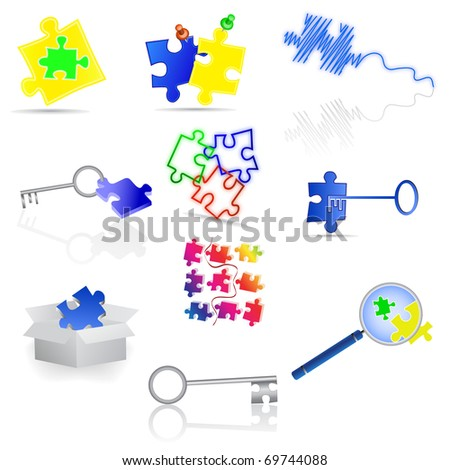 Puzzle icons and elements. Vector illustration. - stock vector