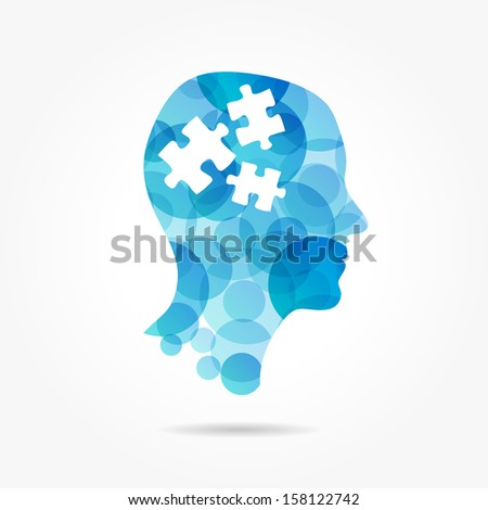 puzzle in bubble head poster  - stock vector