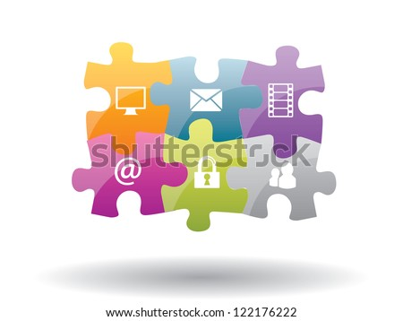 Puzzle integration of communication with internet security - stock vector