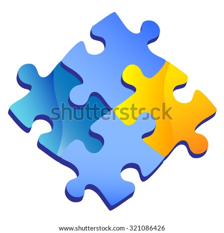 Puzzle isolated on transparent background, Vector illustration