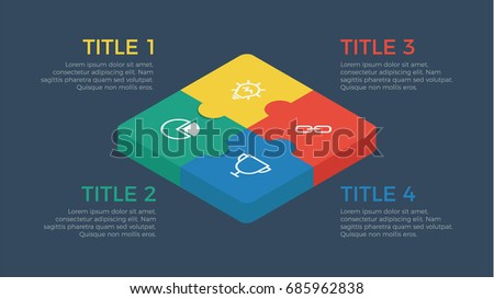 Puzzle isometric infographic element vector four stock vector puzzle isometric infographic element vector with four number options can be used for step ccuart Image collections