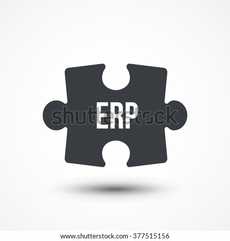 Puzzle piece. Concept image of acronym ERP as Enterprise Resource Planning. Flat icon - stock vector