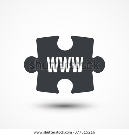 Puzzle piece. Concept image of acronym WWW as World Wide Web. Flat icon - stock vector