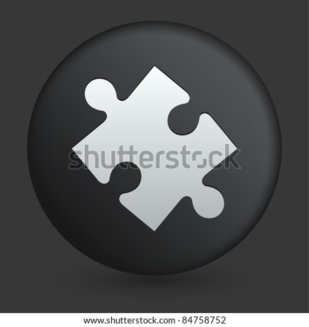 Puzzle Piece Icon on Round Black Button Collection Original Illustration - stock vector