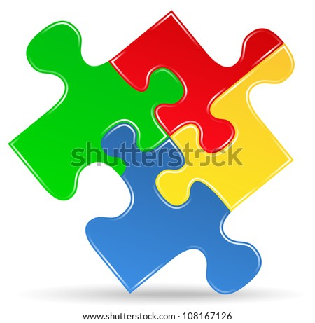 Puzzle piece icon, vector eps10 illustration