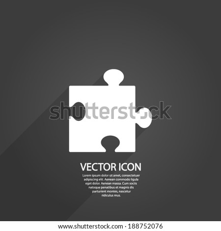 Puzzle piece icon , vector illustration. Flat design style - stock vector