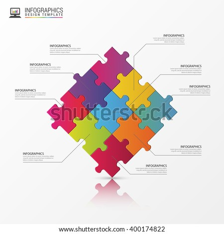 Puzzle piece infographics business concept. Vector illustration - stock vector