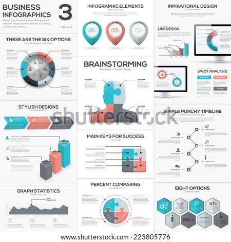 Puzzle piece infographics vector business jigsaw metaphors set - stock vector