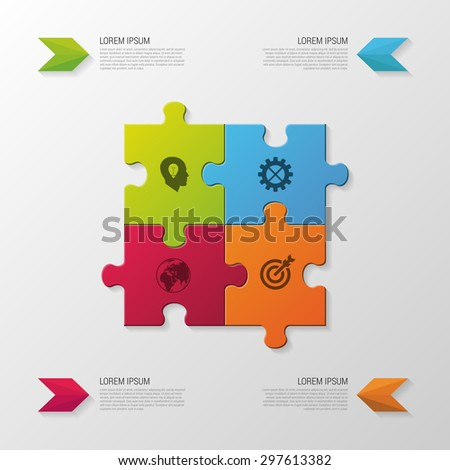Puzzle piece. Modern infographics business concept. vector illustration - stock vector