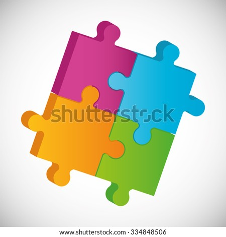 Puzzle pieces and big ideas design, vector illustration graphic - stock vector