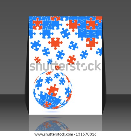 Puzzle pieces vector design - flyer - stock vector
