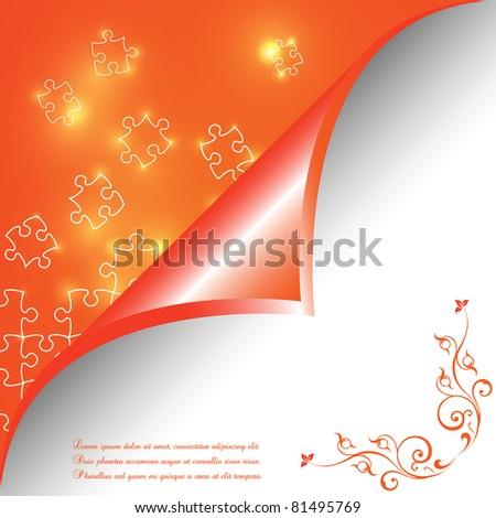 Puzzle pieces vector design glowing - stock vector