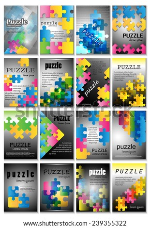 Puzzle Placard Template - Vector Illustration, Graphic Design, Editable For Your Design - stock vector
