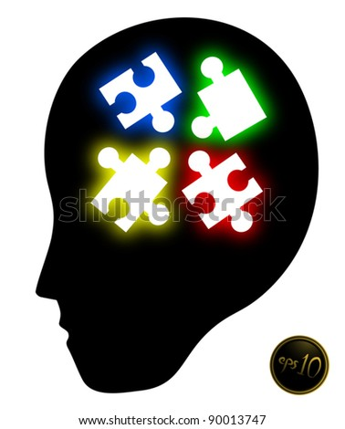 Puzzle psychology - stock vector