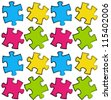 Puzzle seamless pattern - stock vector