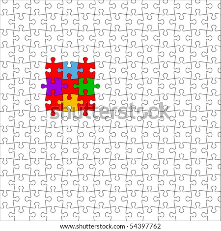 Puzzle (separate pieces) - stock vector