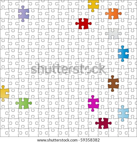 Puzzle - separate pieces  - color to your liking - stock vector