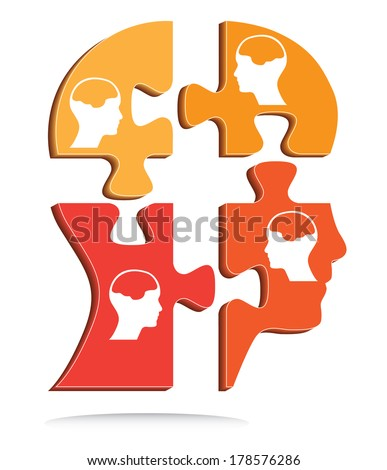 Puzzle shaped head vector with little heads and brains, creative vector design. - stock vector