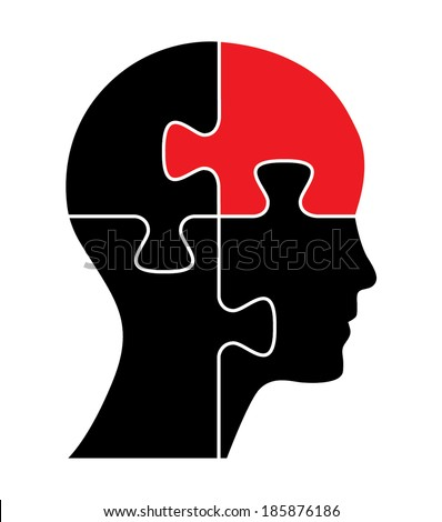 Puzzle shaped head with a red piece. - stock vector