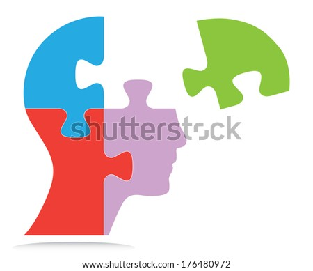 Puzzle shaped human head design. Creative isolated business concept vector illustration.  - stock vector