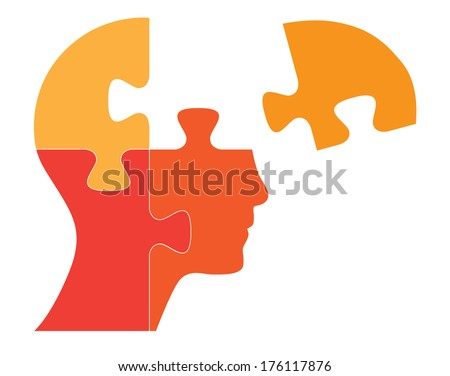Puzzle shaped human head vector illustration. Raster available in my portfolio. - stock vector