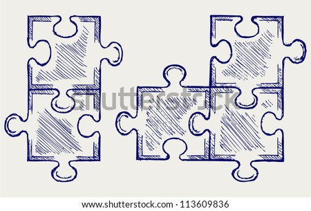 Puzzle sketch - stock vector
