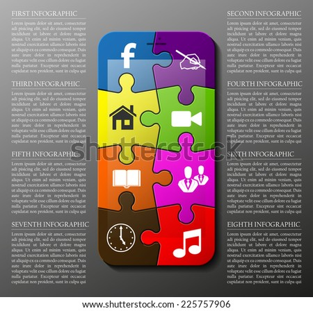 Puzzle Smartphone, mobile phone isolated, realistic presentation infographic template with explanatory text field for business statistics - stock vector