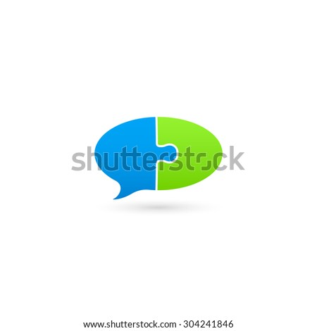 Puzzle speech bubble icon. Isolated on white background. Vector illustration, eps 10. - stock vector