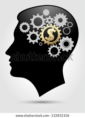 Puzzle - thinking heads 4 - stock vector