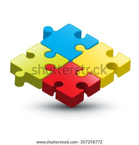 Puzzle Vector 3D Colorful Illustration on White Background