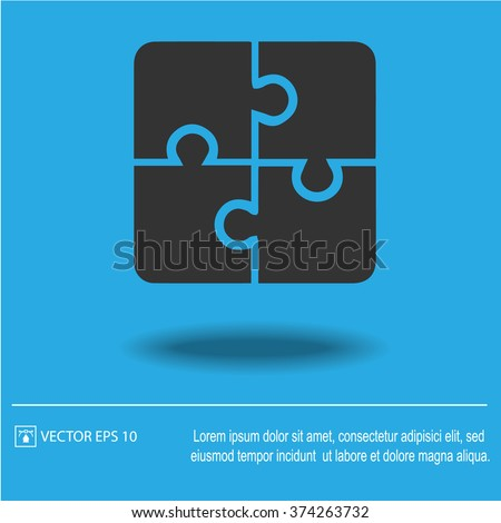 Puzzle vector icon. Creative group symbol. Cooperation. - stock vector