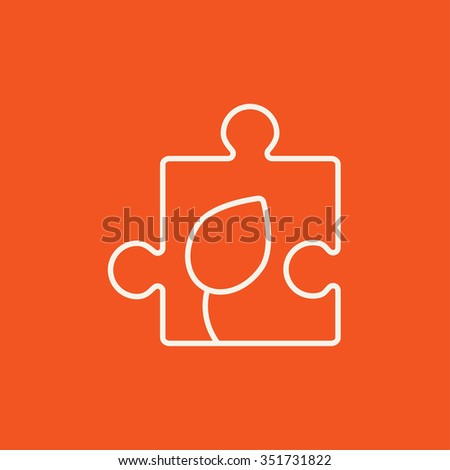 Puzzle with leaf line icon for web, mobile and infographics. Vector white icon isolated on red background. - stock vector