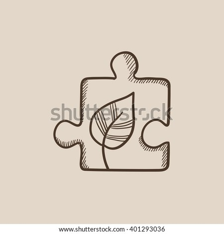 Puzzle with leaf sketch icon. - stock vector