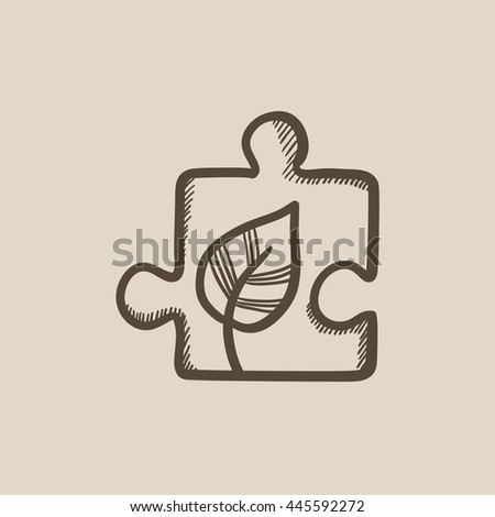 Puzzle with leaf vector sketch icon isolated on background. Hand drawn Puzzle with leaf icon. Puzzle with leaf sketch icon for infographic, website or app. - stock vector
