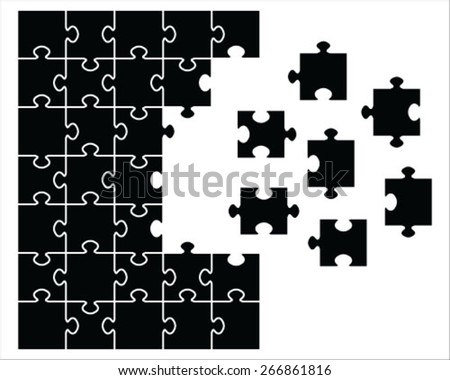 puzzle with missing pieces,vector - stock vector