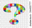 Puzzle with question mark -exact fit - (full puzzle behind - layered for easy editing) - stock photo