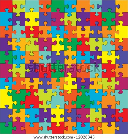 Puzzle with split complementary colors - VECTOR