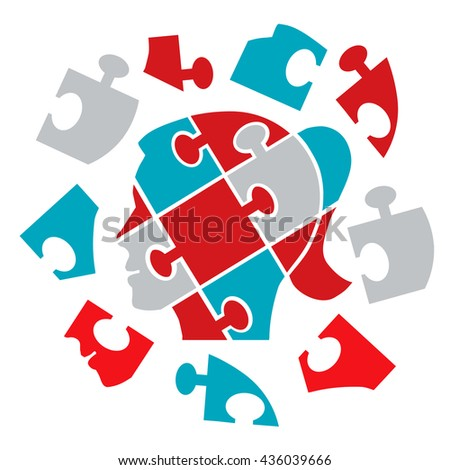 Puzzle woman head. Puzzle female head silhouette symbolizing Psychology psychological problems cleaved mind. Vector available.  - stock vector