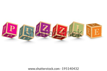 PUZZLE written with alphabet blocks - vector illustration