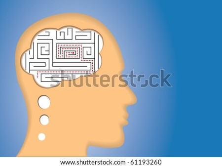 Puzzled Brain/Mind. maze inside of the head. Concept of confusing, lost, solution, etc. - stock vector