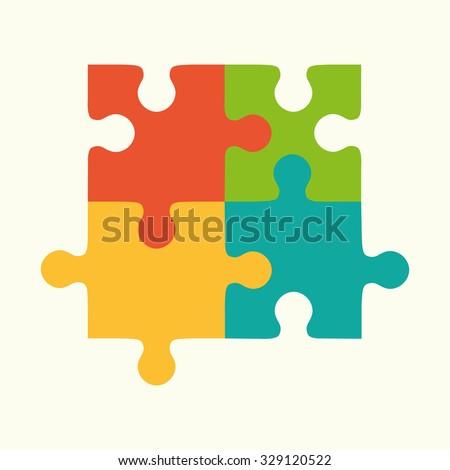 puzzles, flat puzzles, logo, puzzle design, puzzle concept - stock vector