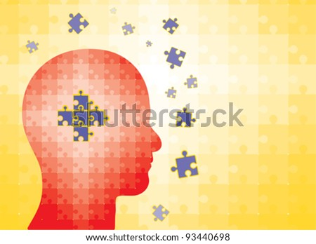 Puzzles in human head - concept image showing man finding solution or gaining knowledge or getting wise, etc. - stock vector