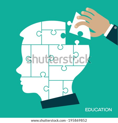 Puzzles in the form of a man's head. Human hand inserts the missing puzzle in his head. Concept of education. Complete The Person - stock vector