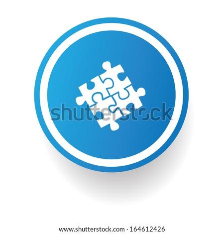 puzzles  symbol,Blue button,vector - stock vector